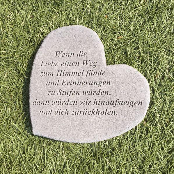 """Gedenkherz Gedenkstein """"Wenn die Liebe ..."""" Steinguss 17 x 15 cm Grabschmuck"""