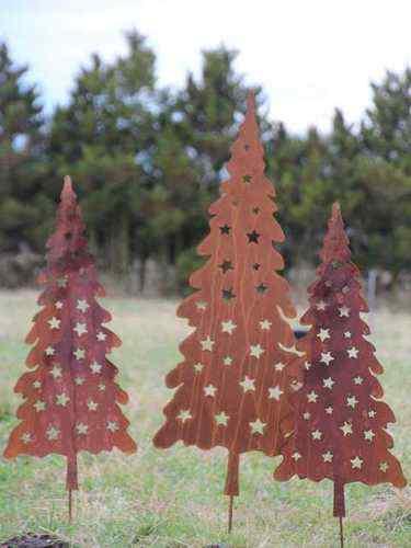 Weihnachtsbaum mit sternen rost 110 cm weihnachtsb ume for Metallfiguren rost