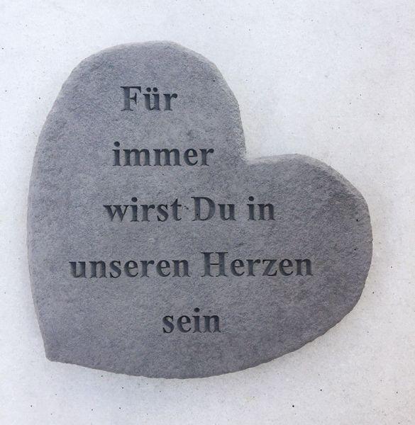 """Gedenkherz Gedenkstein """"Für immer ..."""" Steinguss 17 x 15 cm Grabschmuck"""