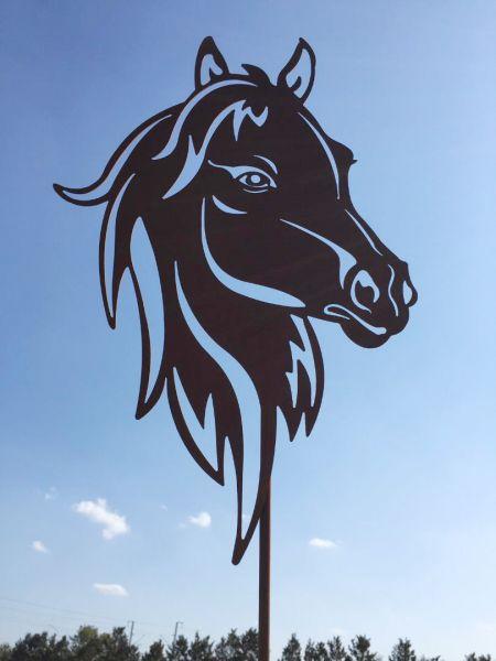 Pferdekopf 40x28cm auf Stab Pferd Gartenstecker Edelrost