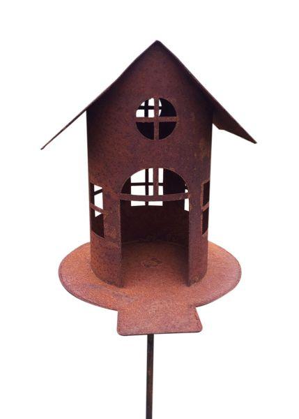 Vogelhaus mit Steg 21 cm hoch + Stab Gartenstecker Futterhaus Windlicht Edelrost