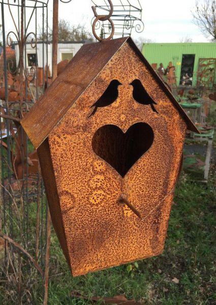 Vogelhaus mit Herz 38cm zum Aufhängen Nistkasten Edelrost