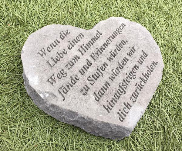 """Gedenkherz Gedenkstein """"Wenn die Liebe ..."""" Steinguss 22 x 18 cm Grabschmuck"""
