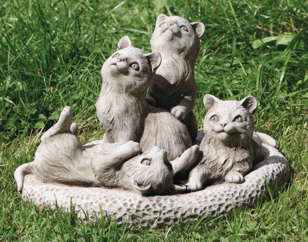 Katzengruppe Katzenbande 25x38cm grau Steinfigur